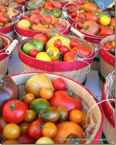 tomatofest farmers market bucket of assorted heirlooms